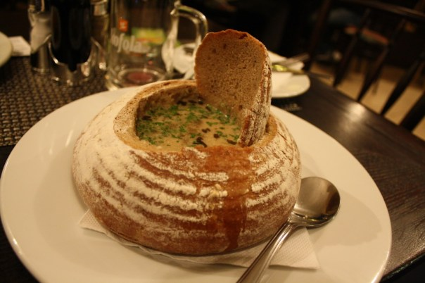 Soup in a bread bowl - Prague