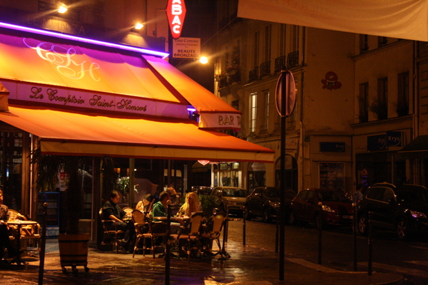 Paris by night - street corner cafe scene