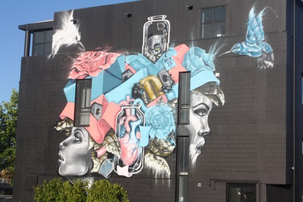 Colourful Christchurch mural on building wall