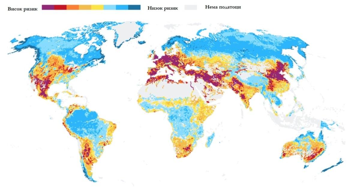 Слика 1. Ризик од несоодветен квалитет на водата за пиење во светот (мофицирана слика, ИЗВОР: World Bank Group)