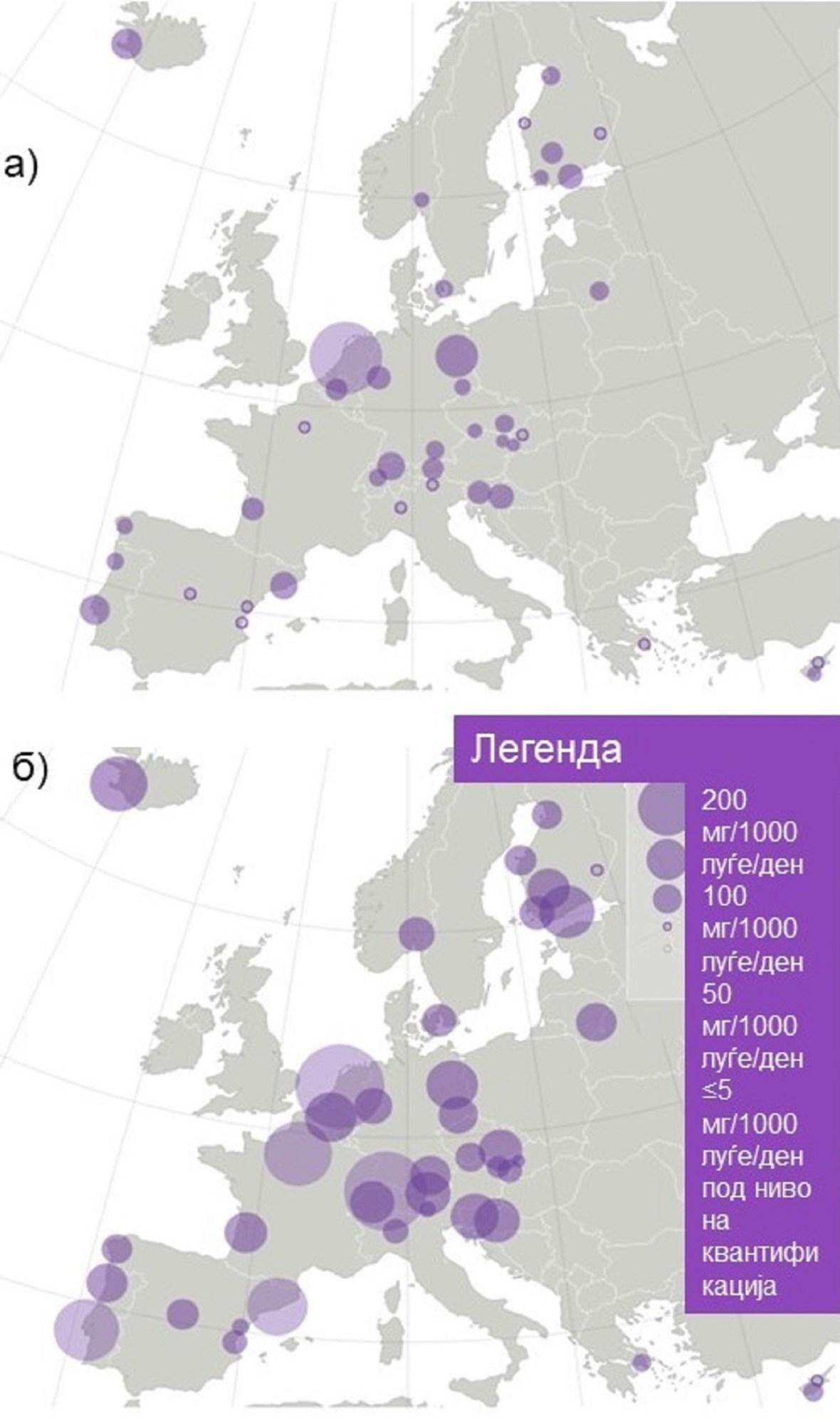 Слика 3. Разлики во количина конзумирани екстази (MDMA) во Европа во текот на работен и неработен ден: а) конзумирани количини во четврток, б) конзумирани количини во недела. (модифицирана слика, ИЗВОР: EMCDDA, 2019)