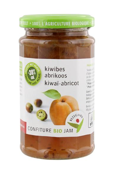 Bezegaard biologische kiwibes-abrikozenjam, zonder suiker, gezoet met agave. Bio confituur.