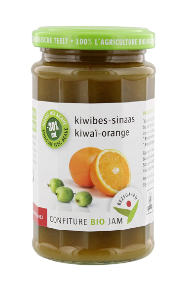 Bezegaard biologische kiwibes-sinaasappeljam, zonder suiker, gezoet met agave. Bio confituur.