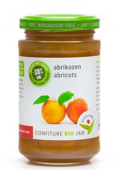 Bezegaard biologische abrikozenjam, zonder suiker, gezoet met agave, bio confituur
