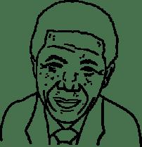 Illustrerad bild av Mandela.