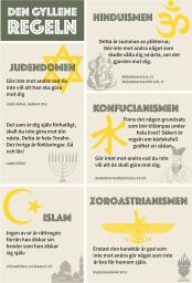 Bild på olika Den gyllene regeln inom olika religioner. En tillgänglig text finns i pdf-versionen nedan.