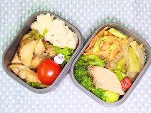 今日のお弁当 鶏むね肉と半額長芋のマヨポン炒め他 19/11/01