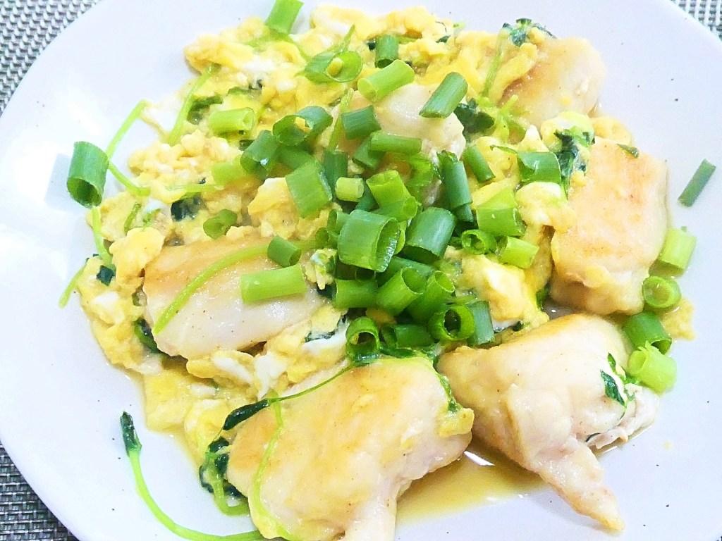 鶏胸肉と豆苗の卵とじ