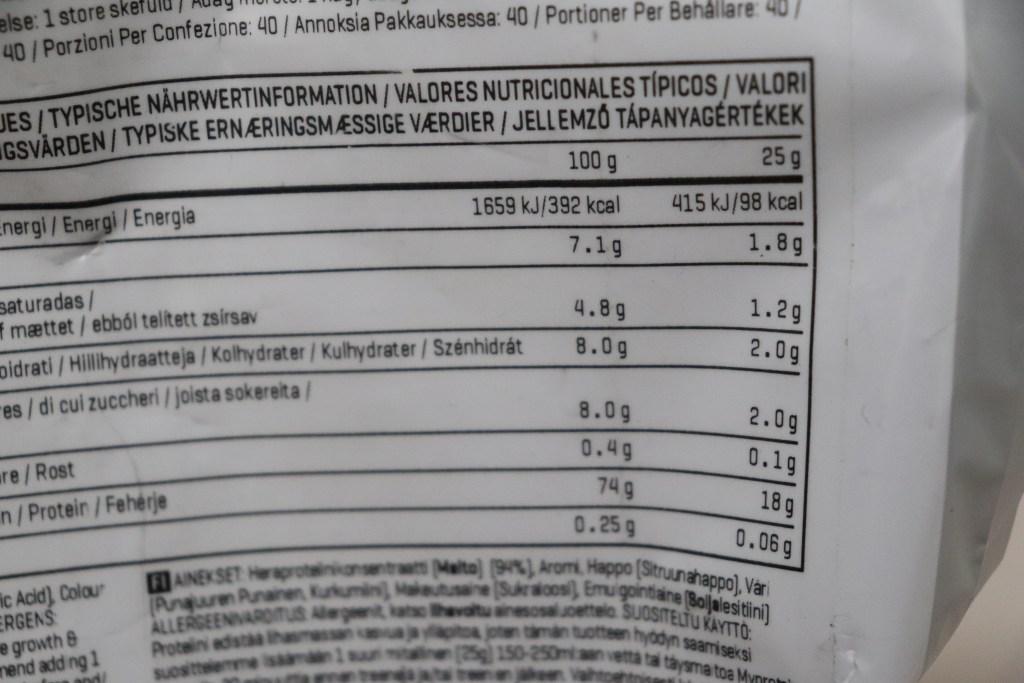 マイプロテイン サマーフルーツ味 - マクロ栄養素