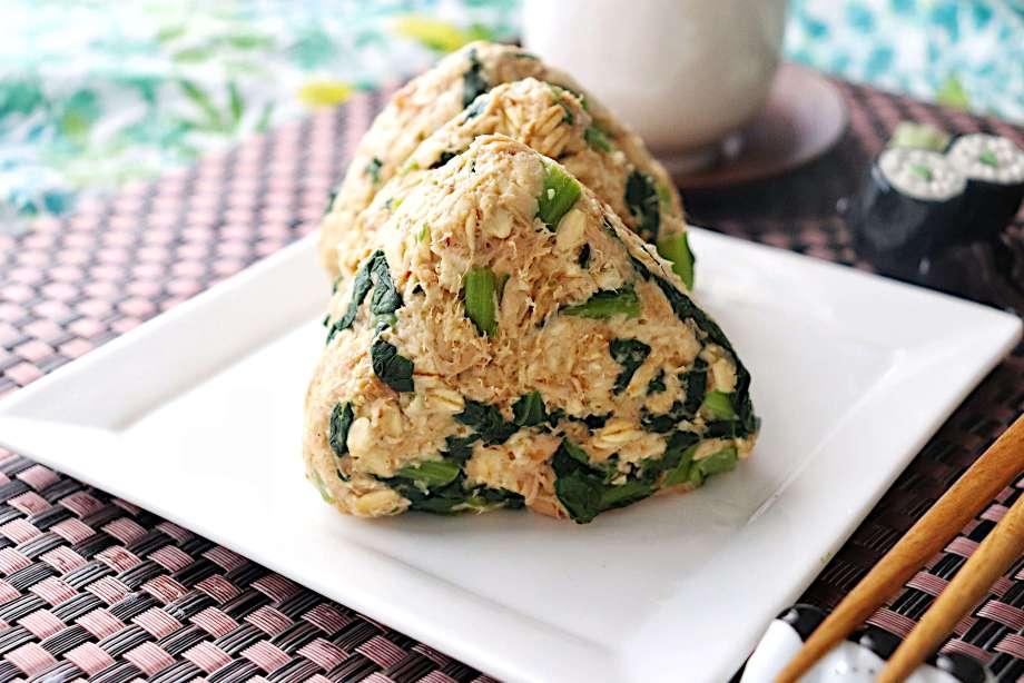 小松菜とツナのオートミールおにぎり
