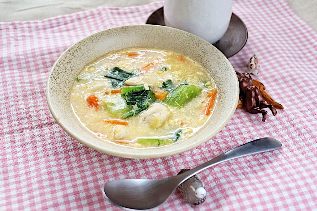 ささみとチンゲン菜の卵スープ