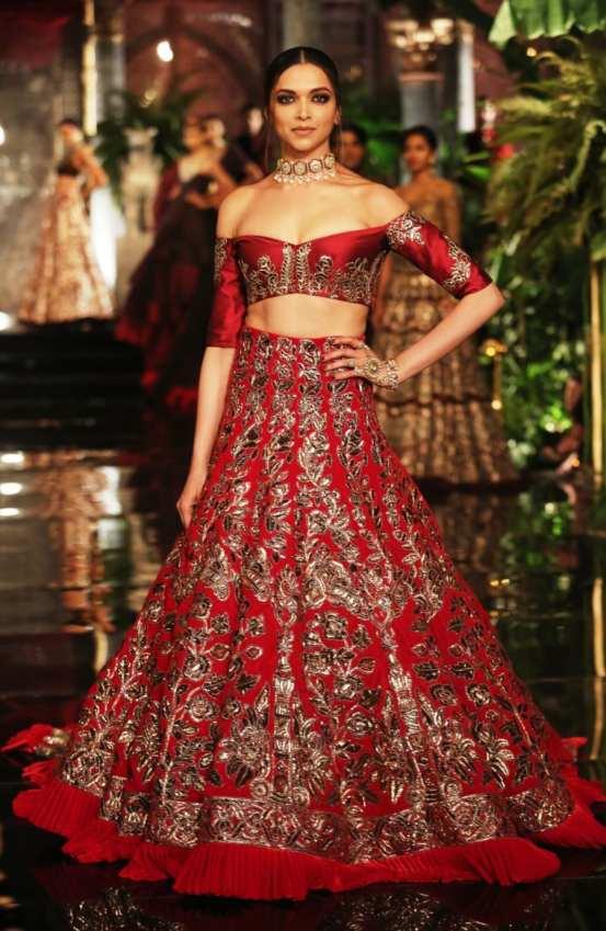 Deepika wearing velvet lehenga