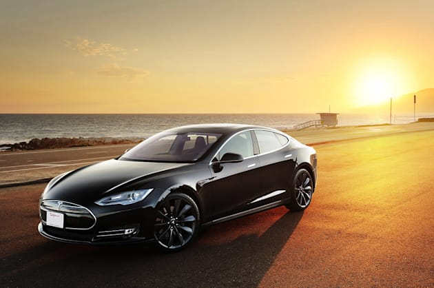 Tesla Model S in the sunset