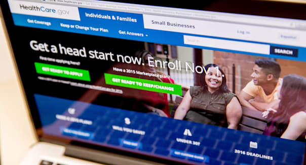 The HealthCare.gov website, where people can buy health insurance, is displayed on a laptop screen in Washington, Tuesday, Oct. 6,  2015. Premiums are expected to rise in many parts of the country as a new sign-up season under President Barack Obama�s health care law starts Nov. 1. But consumers have options if they�re willing to shop, and an upgraded government website will help them compare. (AP Photo/Andrew Harnik)