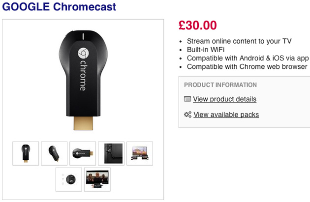 Google Chromecast listing at Currys