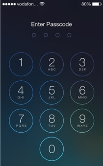 passcode ios 7 screen