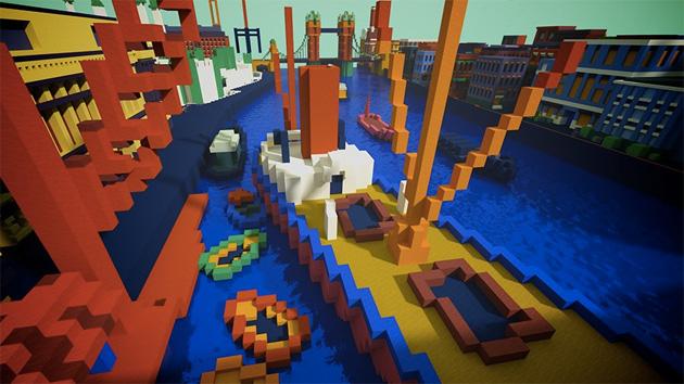 Opere darte di reimagines del museo di Tate come mappe di Minecraft