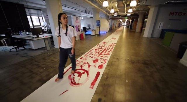 Qinmin Liu's 328-foot code painting at Twitter