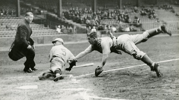 Mickey Cochrane and Pinky Whitney in a close call at home base