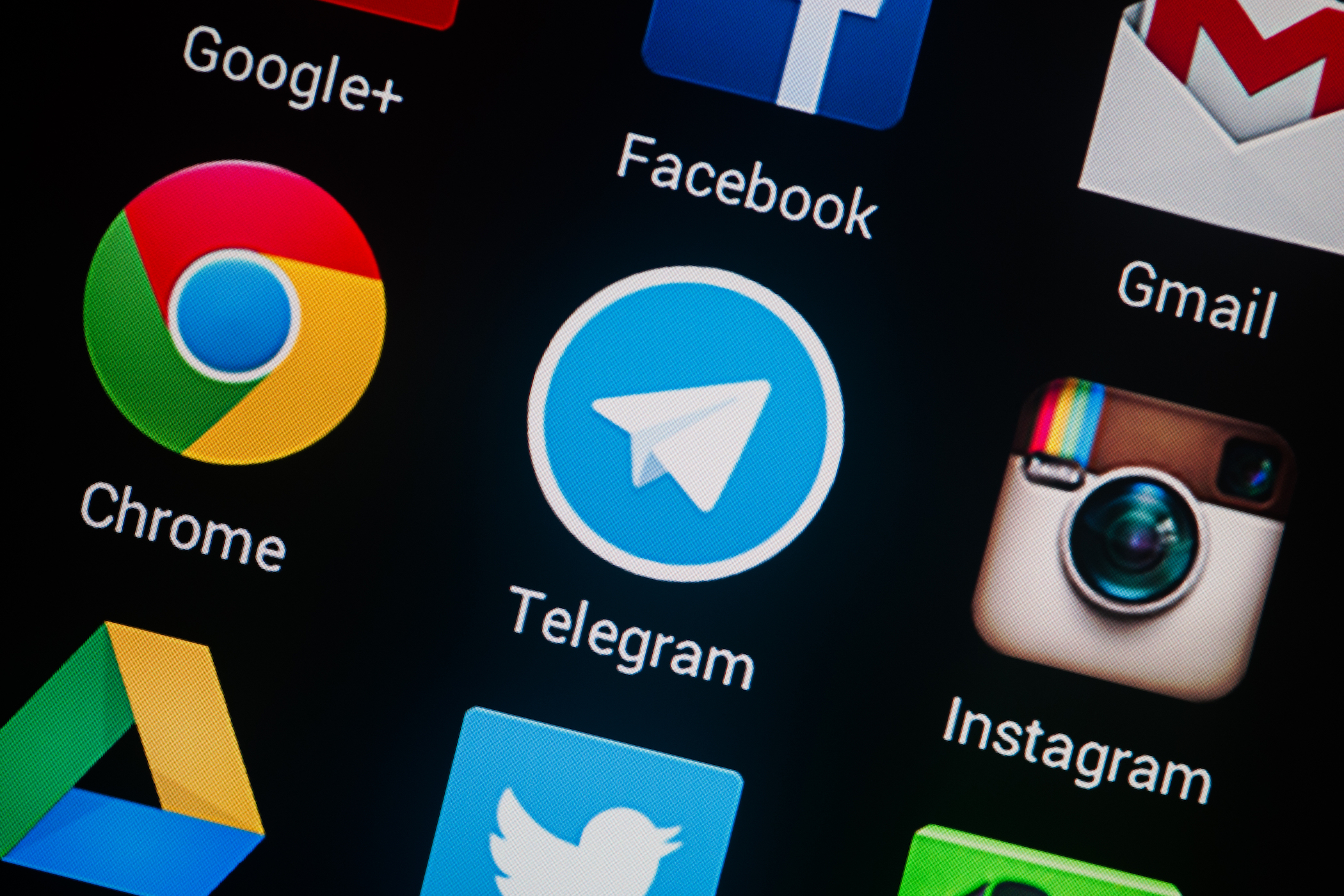 NOVOKUZNETS, RUSSIA - MARCH 13, 2014: Closeup photo of Telegram icon on mobile phone screen.; Shutterstock ID 181909403; PO: aol; Job: production; Client: drone