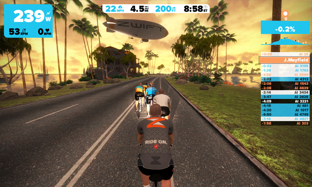 Zwift's online cycling game in action