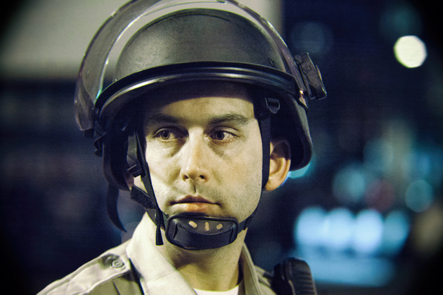 Oakland police officer during protests in 2010