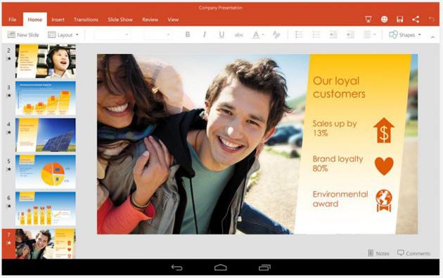 La previsione dellufficio di Microsoft per le compresse di androide ora è disponibile ad ognuno