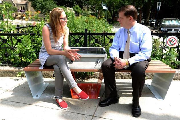 A solar-powered 'soofa' smart bench in Boston