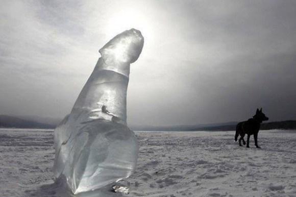 weirdest places someone got their penis stuck, frozen penis ice sculpture