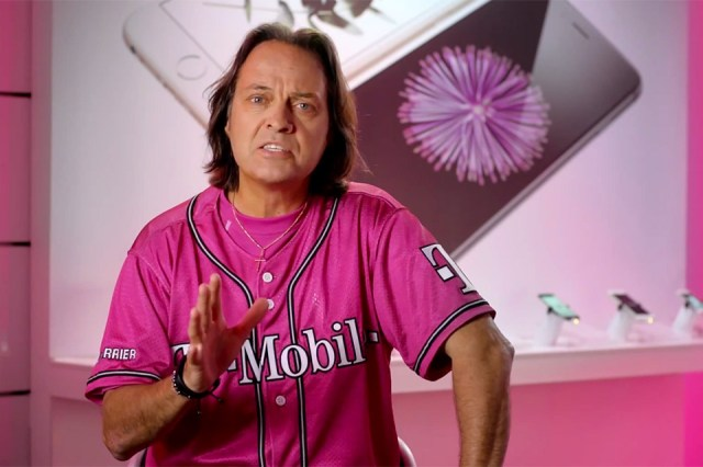 T-Mobile CEO John Legere in front of the iPhone 6