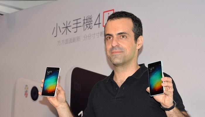 Xiaomi's Hugo Barra launches the Mi 4i in Hong Kong.