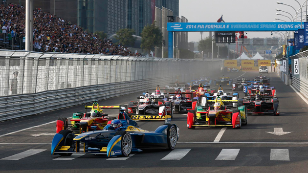 The first Formula E race gets going in Beijing