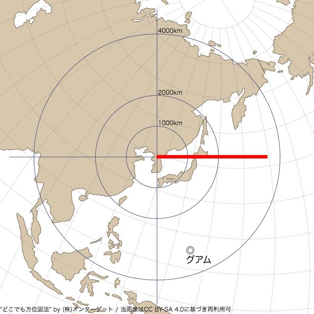 20179月15日に発射した北朝鮮の弾道ミサイルの航跡(正距方位図法)