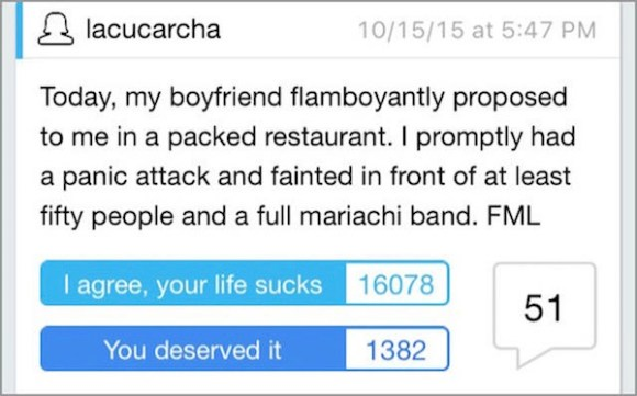 worst cases of fml in history, worst fml stories, proposal fml