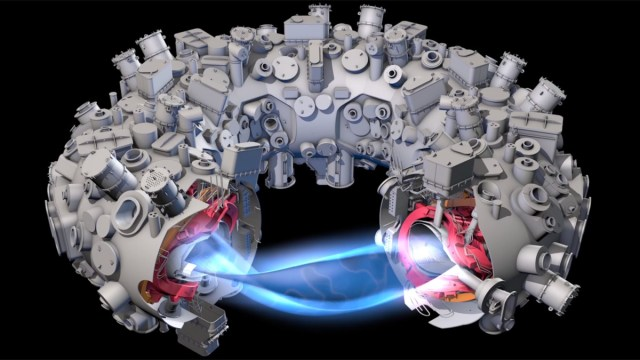 The Wendelstein 7-X fusion reactor sliced to show its inner workings