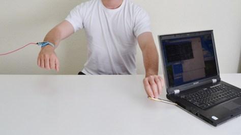 Intercepting computer data by touching it