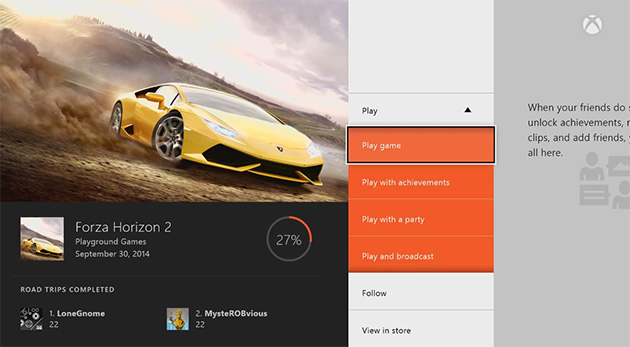 I hub del gioco di Xbox uno consegnano le correnti e soddisfanno per i vostri titoli favoriti