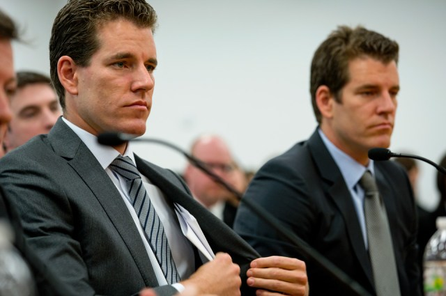 Cameron and Tyler Winklevoss at a virtual currency hearing