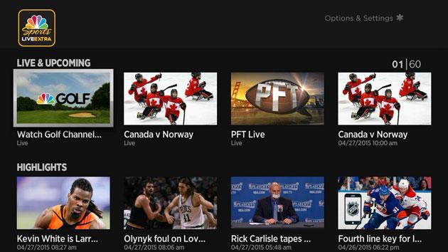 NBC Sports on a Roku player