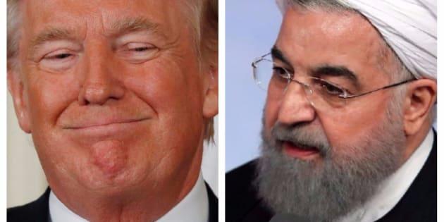 Combo con las imágenes del presidenta de EEUU, Donald Trump, (izq) y de su homólogo iraní, Hassan Rouhani, (der).