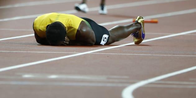 Bolt, en el instante de la lesión.