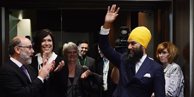 NDP Leader Jagmeet Singh arrives to his first caucus meeting in Ottawa on Oct. 4, 2017.
