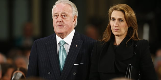 Former Canadian Prime Minister Brian Mulroney and his daughter Caroline Mulroney Lapham arrive for the state funeral of Canada's former finance minister Jim Flaherty in Toronto on April 16, 2014.