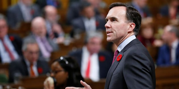 Canada's Finance Minister Bill Morneau speaks during Question Period in the House of Commons on Parliament Hill in Ottawa, Oct. 31, 2017.