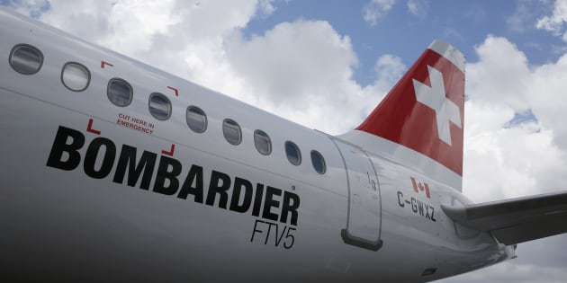 A Bombardier C Series aircraft wearing Swiss Air Lines livery is displayed at the Singapore Airshow, Feb. 18, 2016.  The U.S. has imposed an additional 80-per-cent duty on Bombardier airplanes, bringing the total to around 300 per cent.