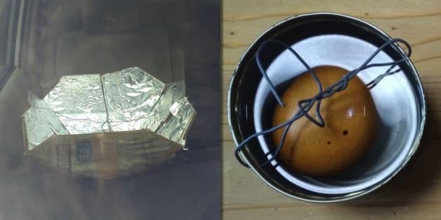 車内に設置した簡易のソーラークッカー(左)と水を張った黒塗りの空き缶の中に沈めた卵(右)