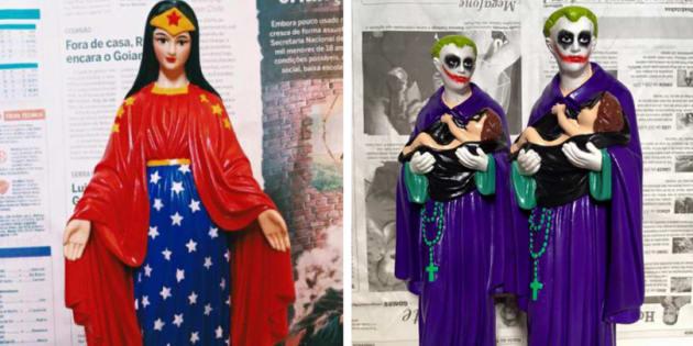 Justiça libera produção de esculturas de santos fantasiados.