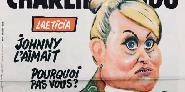 Johnny Hallyday; Laeticia en mante religieuse Une de Charlie Hebdo