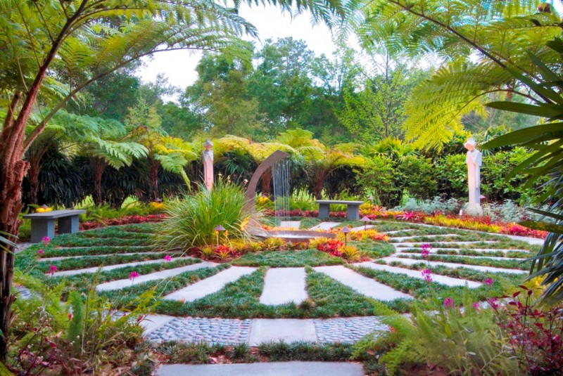 tropical gardens with fountain