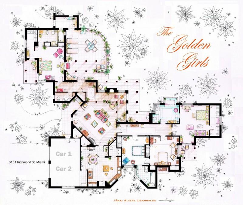 Golden Girls house floor plan